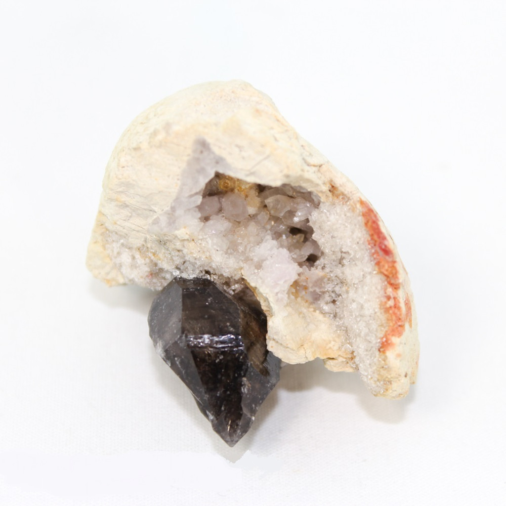Smoky Quartz point on Quartz Geode