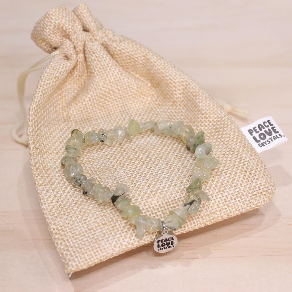Prehnite with Epidote Chip Bracelet