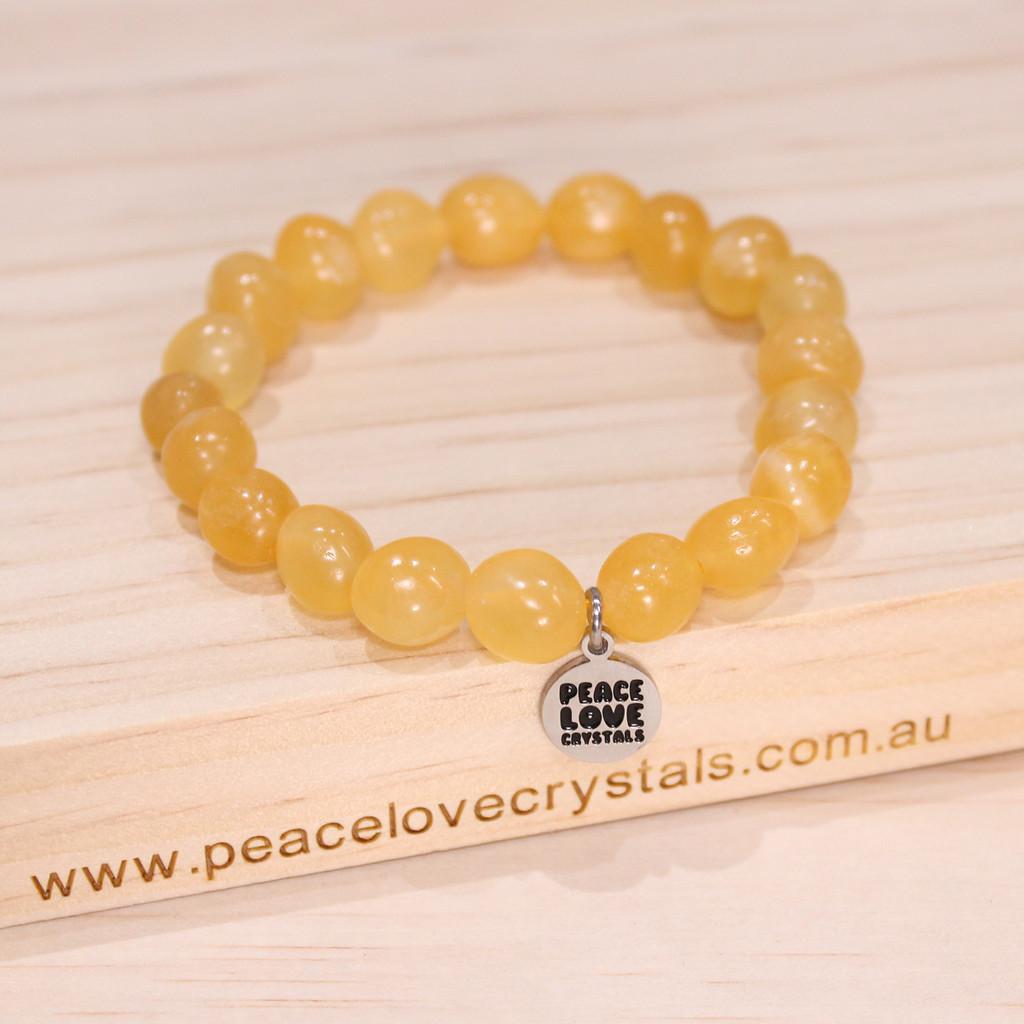 Orange Calcite Pebble Bracelet
