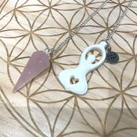 Rose Quartz Goddess Pendulum