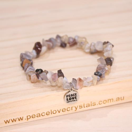 Grey Botswana Agate Chip Bracelet