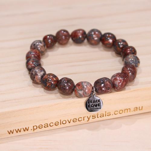 Leopardskin Jasper Pebble Bracelet
