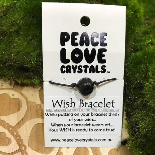 Black Tourmaline Pebble Wish Bracelet