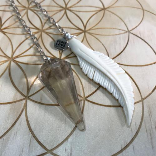 Smoky Quartz Feather Pendulum