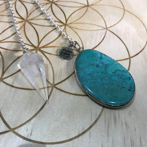 Quartz and Blue Howlite Pendulum