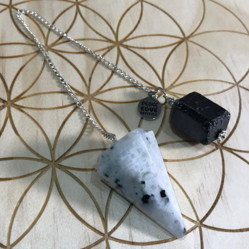 Rainbow Moonstone and Black Tourmaline Pendulum