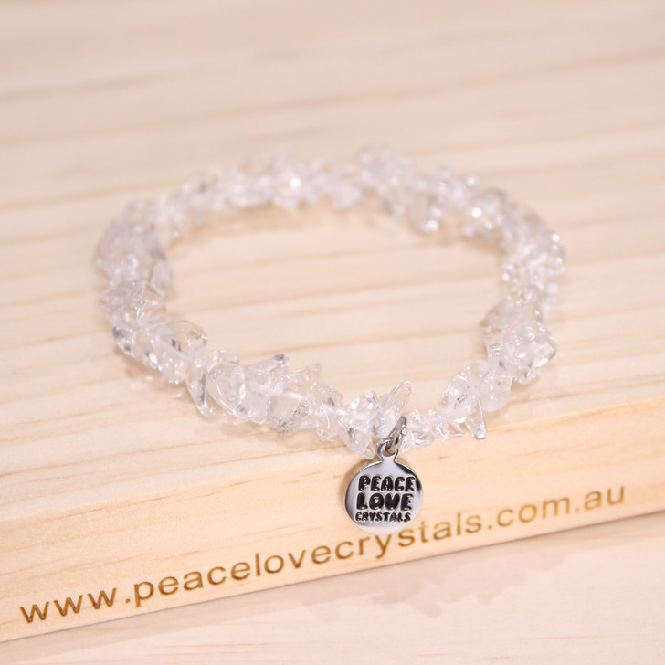 Clear Crystal Quartz Chip Bracelet
