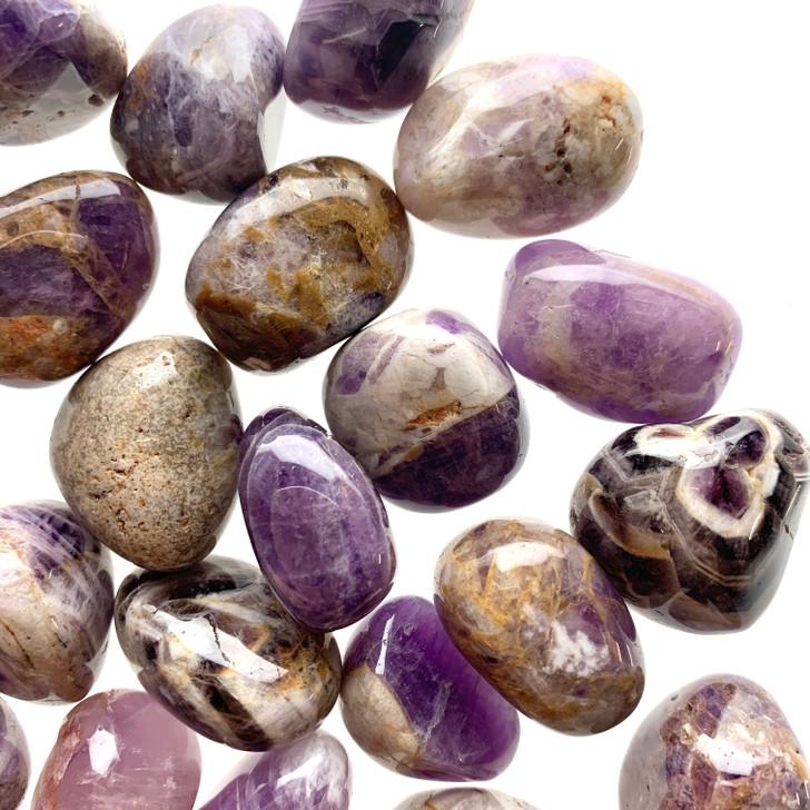 Chevron Amethyst Tumbled Stones