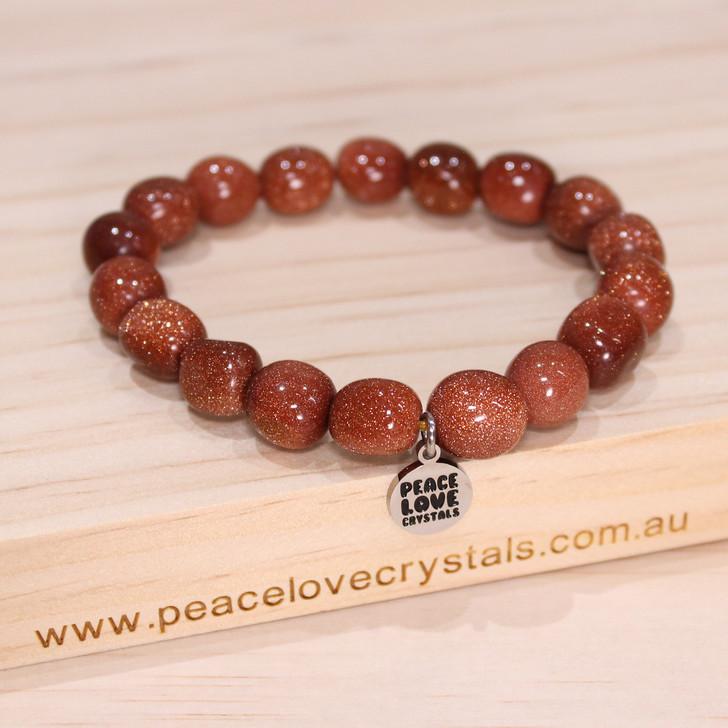 Goldstone Pebble Bracelet