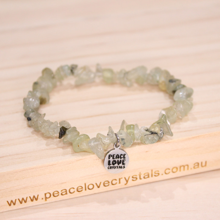 Prehnite with Epidote Chip Bracelet