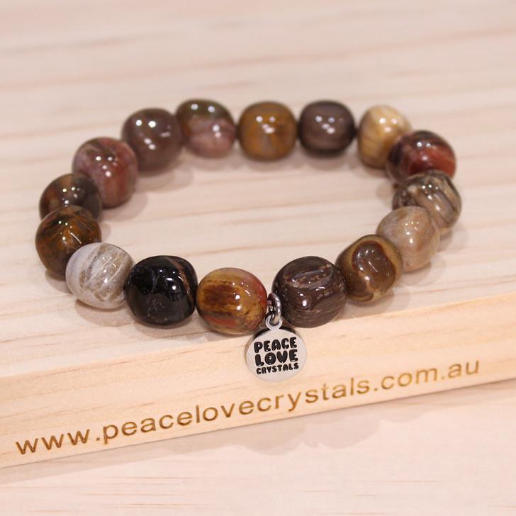 Petrified Wood Pebble Bracelet