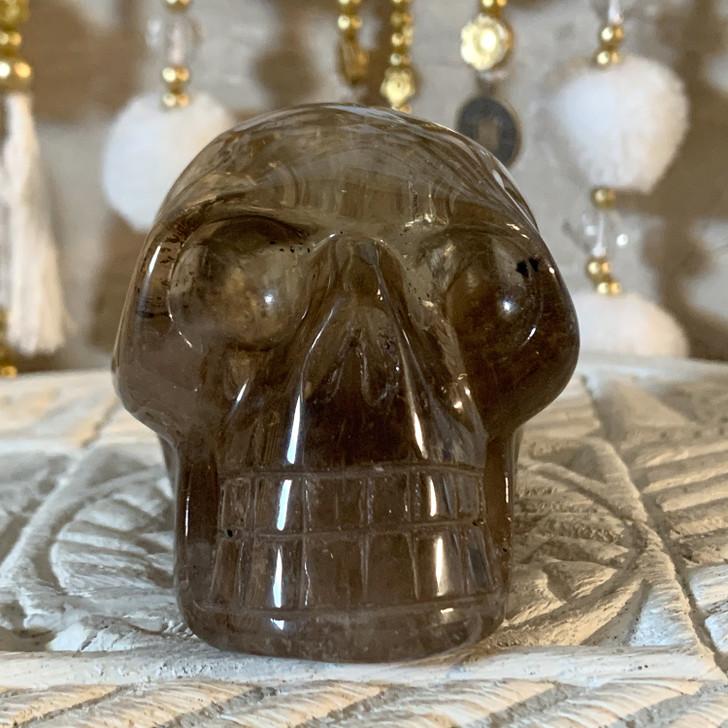 Smoky Quartz Skull with Black Tourmaline