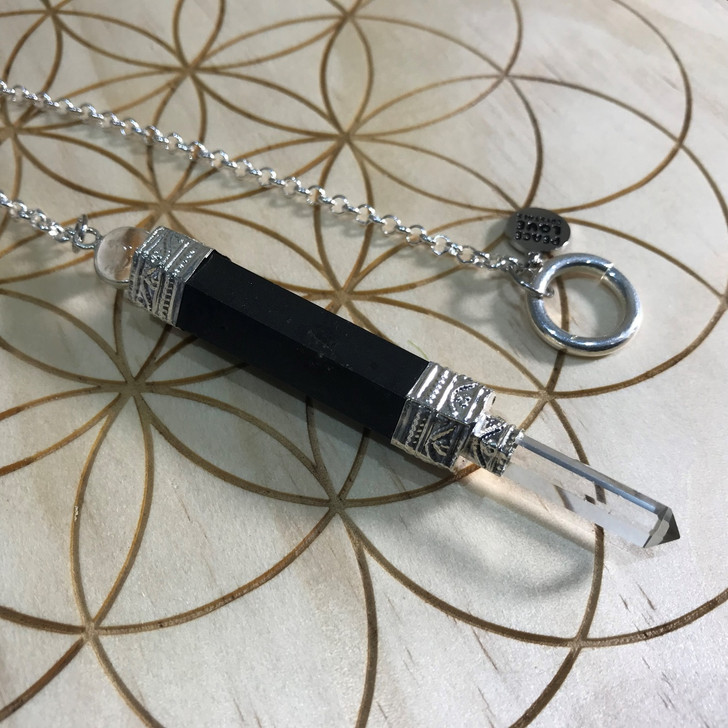 Black Tourmaline and Crystal Quartz Wand Pendulum