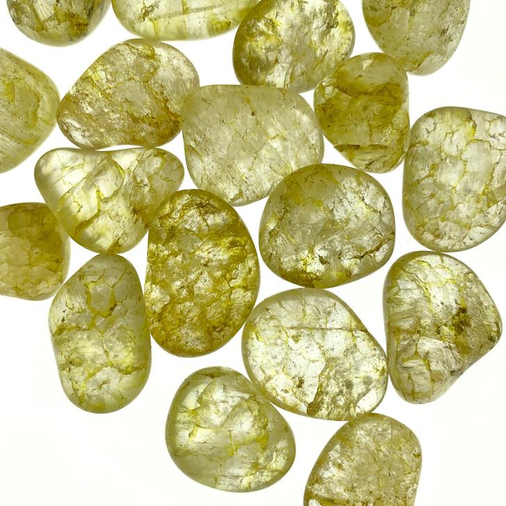 Yellow Crackle Quartz Tumbled Stones