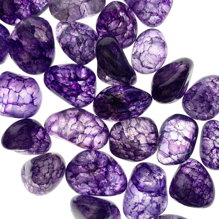 Purple Crackle Quartz Tumbled Stones