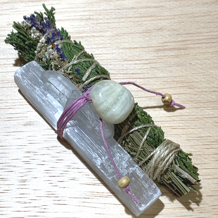 Sacred Cedar Botanical Smudge Bundle with Selenite + Quartz + Moonstone