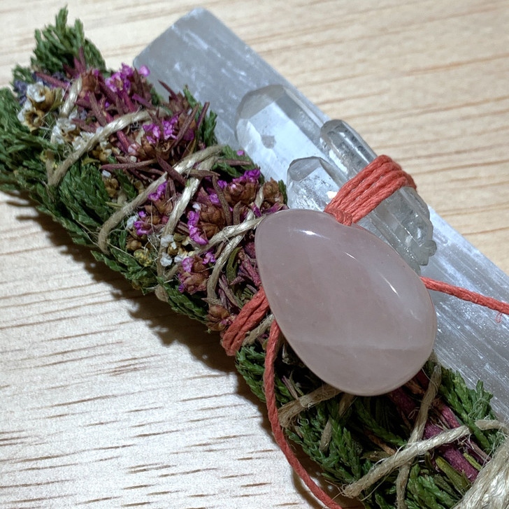 Sacred Cedar Botanical Smudge Bundle with Selenite + Quartz + Rose Quartz