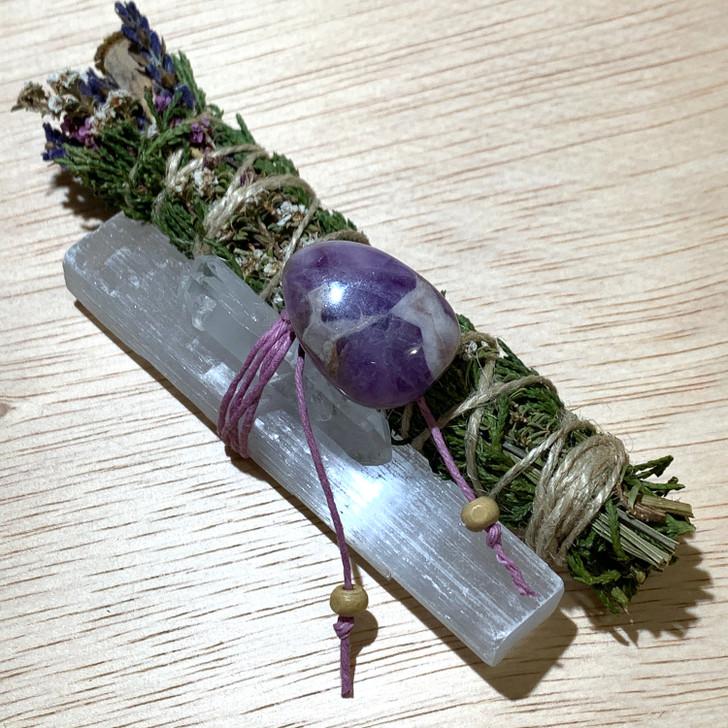 Sacred Cedar Botanical Smudge Bundle with Selenite + Quartz + Chevron Amethyst
