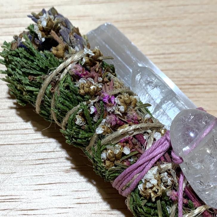 Sacred Cedar Botanical Smudge Bundle with Selenite + Quartz
