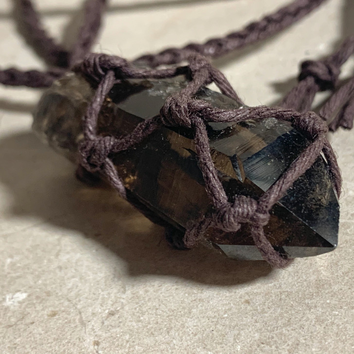 Smoky Quartz Point Macrame Pendant