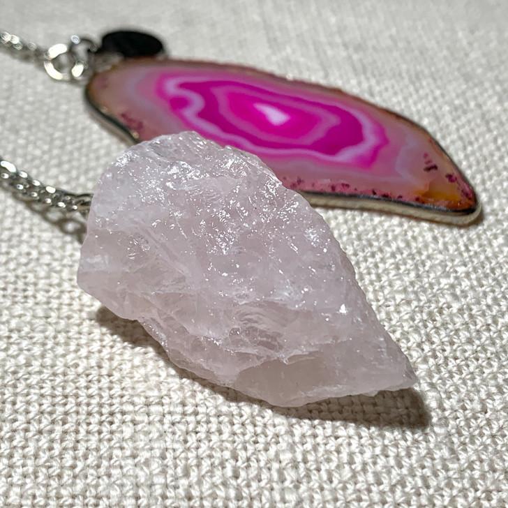 Rose Quartz and Agate Slice Pendulum