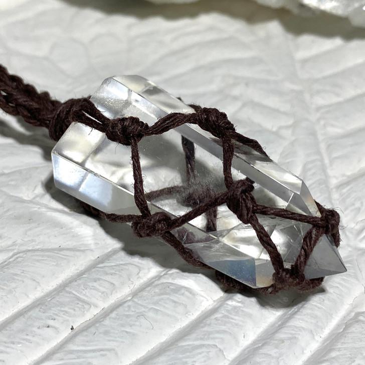 Crystal Quartz  Point Macrame Pendant