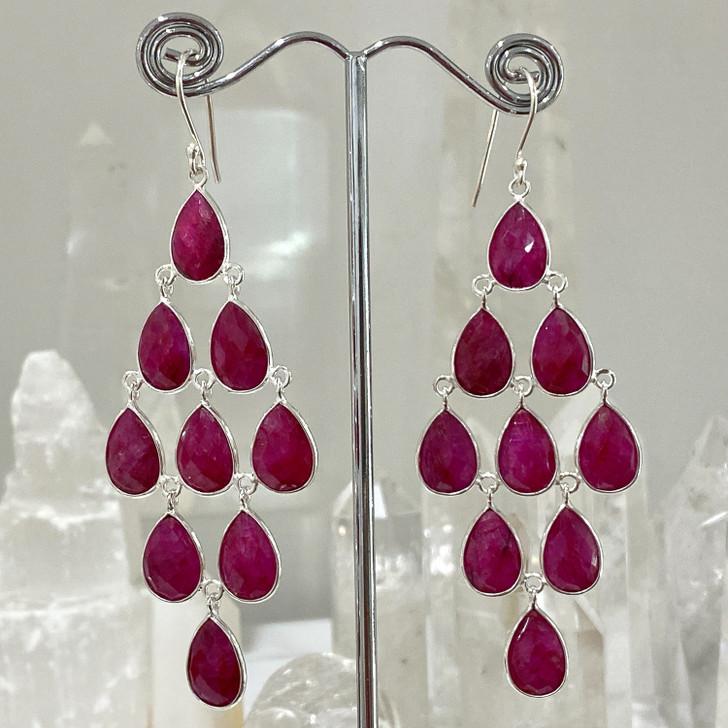 Ruby Chandelier Sterling Silver Earrings