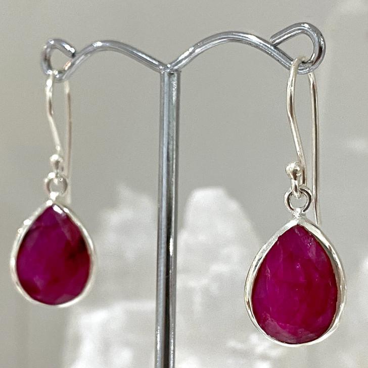 Ruby Teardrop Sterling Silver Earrings