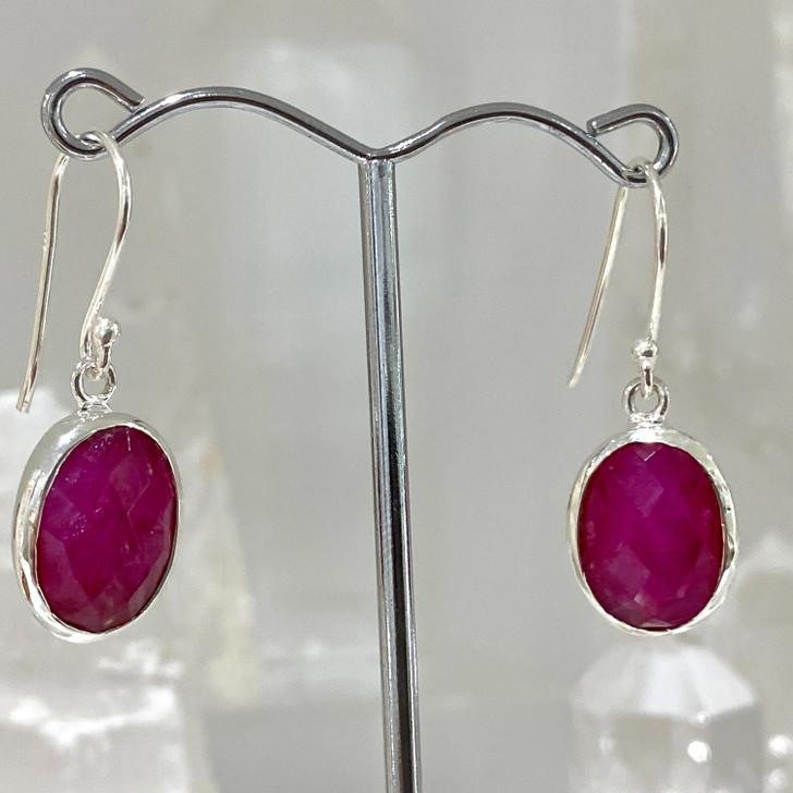 Ruby Oval Sterling Silver Earrings
