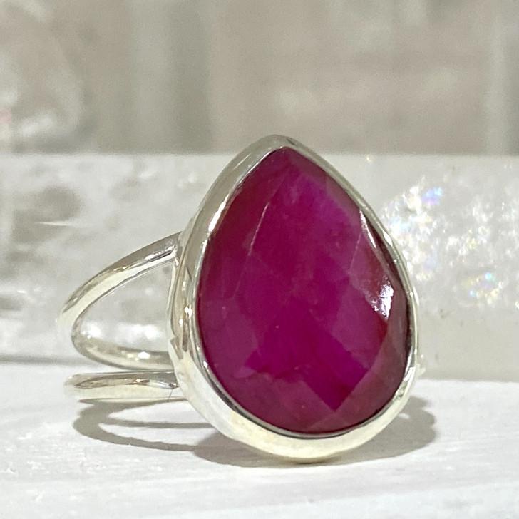 Ruby Teardrop Sterling Silver Ring