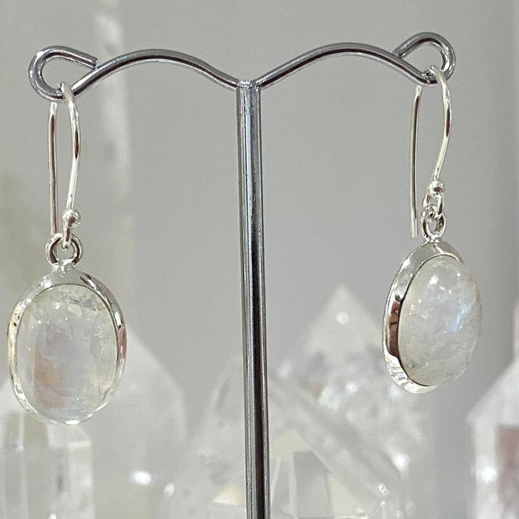 Rainbow Moonstone Oval Sterling Silver Earrings