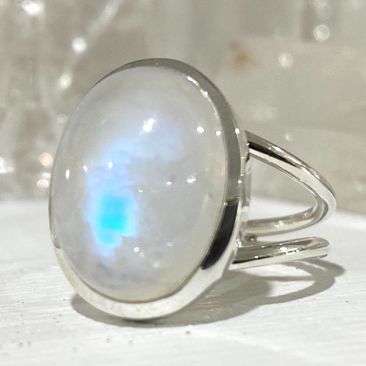 Rainbow Moonstone Oval Sterling Silver Ring