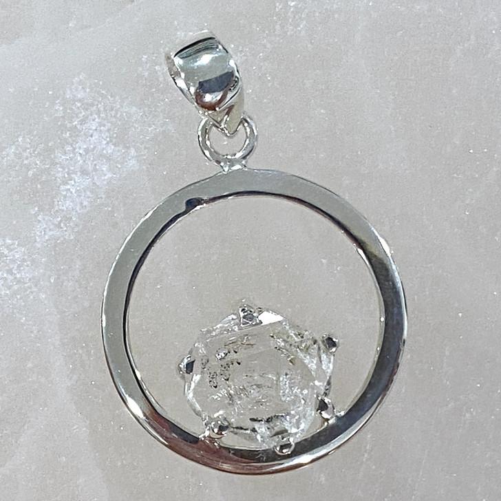 Herkimer Diamond Round Sterling Silver Pendant