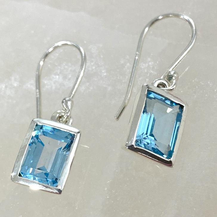 Blue Topaz Rectangle Sterling Silver Earrings