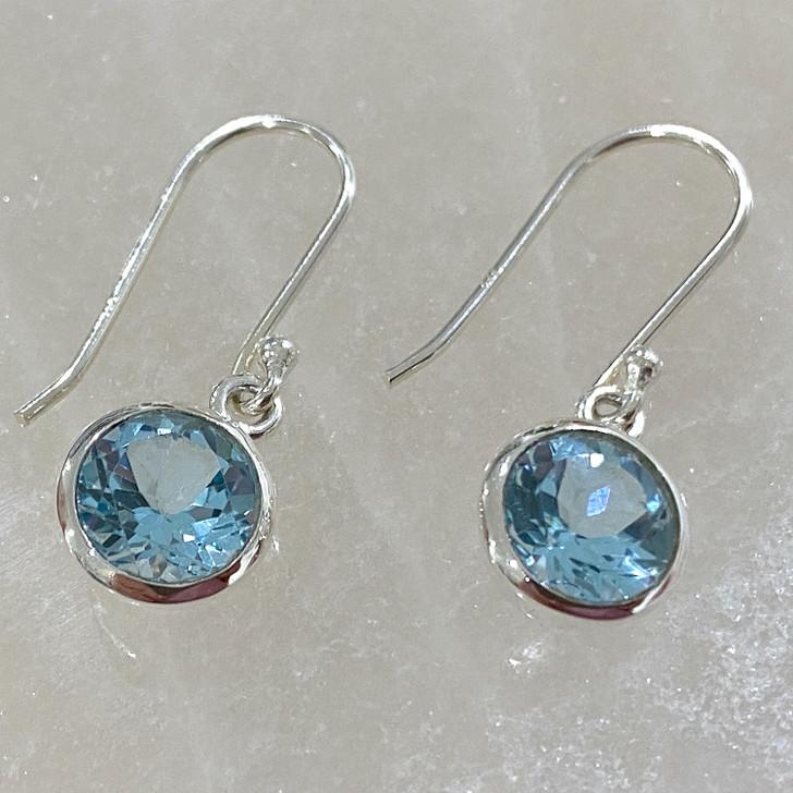 Blue Topaz Round Sterling Silver Earrings