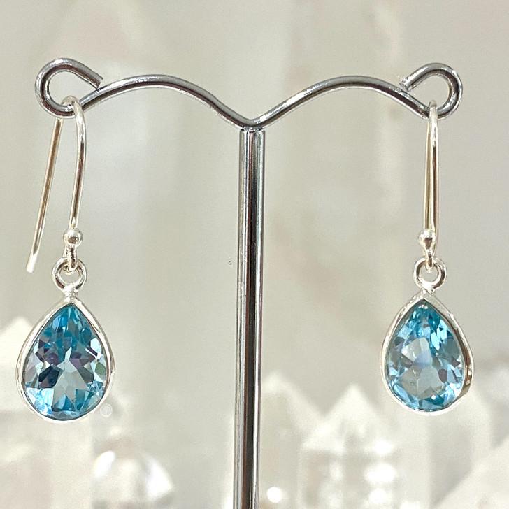 Blue Topaz Teardrop Sterling Silver Earrings