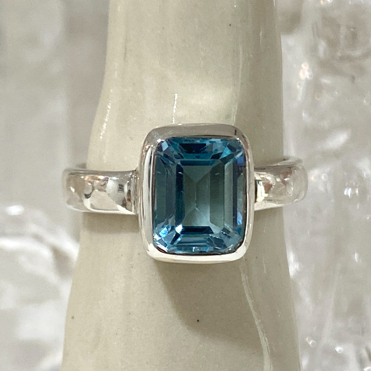 Blue Topaz Rectangle Sterling Silver Ring