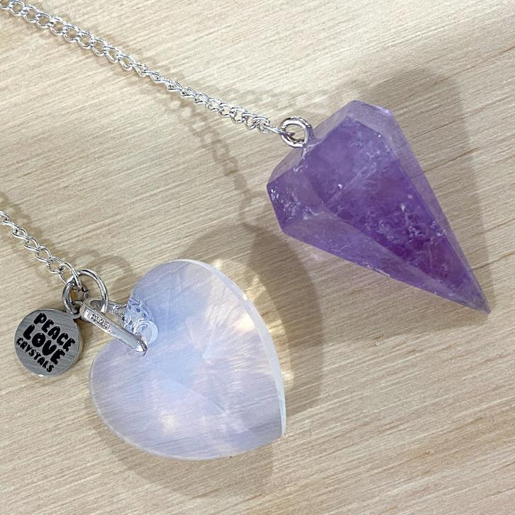 Amethyst with Swarovski Heart Pendulum