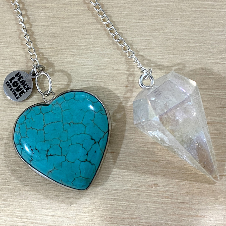 Angel Aura with Blue Howlite Heart Pendulum