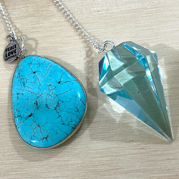 Blue Obsidian and Blue Howlite Pendulum