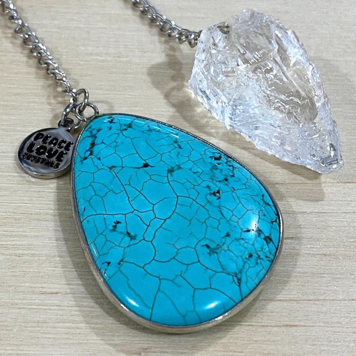 Quartz and Blue Howlite Pendulum