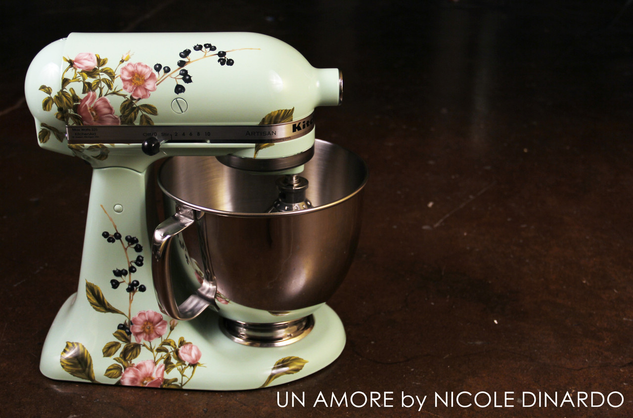 Fabulous Sage Floral And Berries Custom Painted Kitchenaid Mixer Artisan Mixer Not Included Interior Design Ideas Gresisoteloinfo