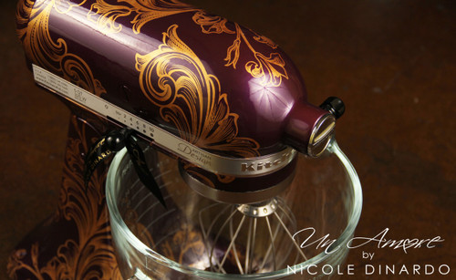 Eggplant with distressed gold flourish {Artisan Mixer not Included}