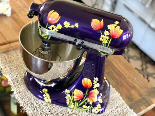 Tulips and Forsythia over Purple Pearl KitchenAid Mixer {Artisan Mixer included}