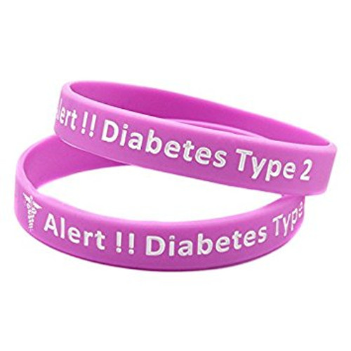 Type 2 Diabetes Medical Alert Bracelet (Pink)