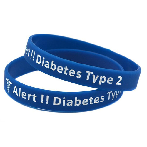 Type 2 Diabetes Medical Alert Bracelet (Blue)