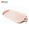 Rectangular Ceramic Bake Meal Plate Double Handle 11.75in Pink