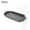 Rectangular Ceramic Bake Meal Plate Double Handle 11.75in Black