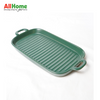 Rectangular Ceramic Bake Meal Plate Double Handle 11.75in Dark Green