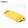 Rectangular Ceramic Bake Meal Plate Double Handle 11.75in Yellow